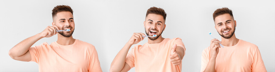 Portrait of man brushing teeth on light background Wall mural