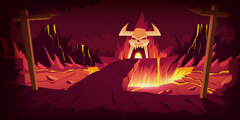 Hell landscape, cartoon vector illustration. Infernal stone cave and bridge, road to hell with heat rock and volcanoes, flowing molten lava or liquid fire and horned skull, fiery game background Wall mural