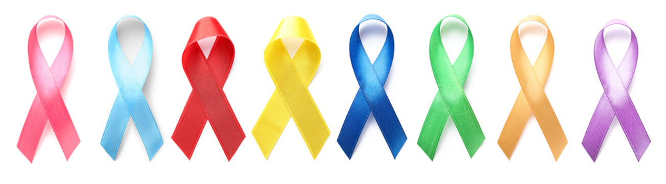 Different awareness ribbons on white background