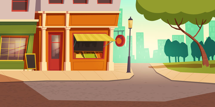 Local vegetable and fruit small shop building in urban landscape, cartoon vector background. Grocery store, farmer kiosk with open window showcase, shelves with products, road, sidewalk and green tree