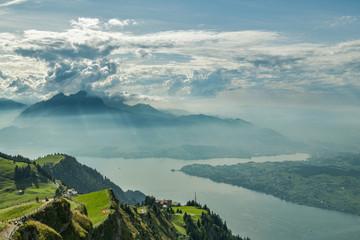 Tourist enjoying their time on top of Mount Rigi in Switzerland