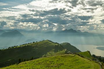 View on Lake Lucerne, Mount Pilatus and Lake Luzern from top of Mount Rigi