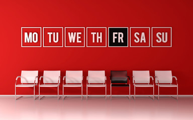 Waiting the Black Friday - red room with chairs and week days on wall