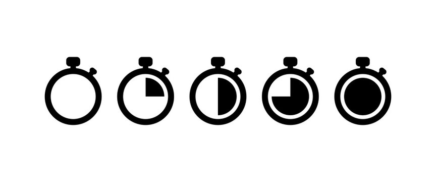 Countdown Timer vector icons set on white background. EPS 10