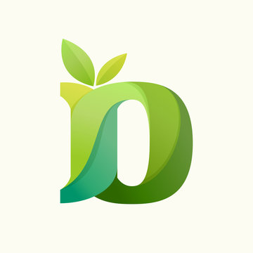 Swirling letter D logo with green leaves.