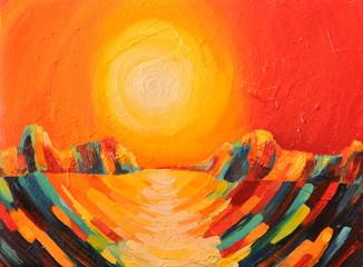 Canvas oil, sunset, sea, mountains, ocean, sun, sky, colorful landscape