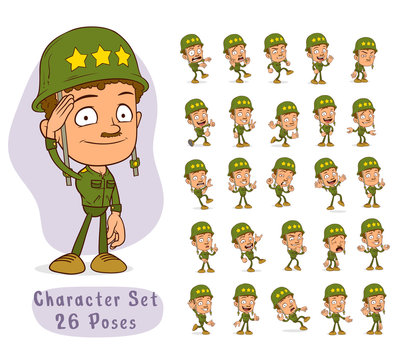 Cartoon funny army soldier boy character with helmet and green uniform in different positions. Layered vector for animations. Isolated on white background. Big icon set.