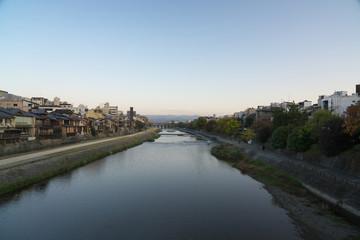 Kyoto,Japan-November 16, 2019: Kamo river in Kyoto viewed from Shijo bridge in the morning