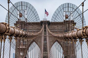 Spoed Fotobehang Brooklyn Bridge detail of brooklyn bridge
