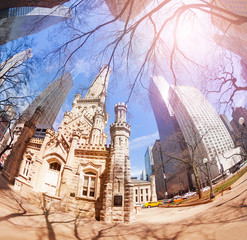 Beautiful view of Chicago Water Tower and square