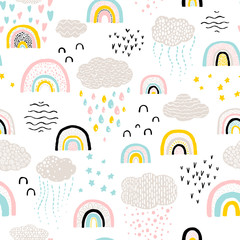 Rainbow pattern. Childish vector seamless pattern with sky, clouds, rain, stars. Cute hand-drawn illustration in scandinavian style. pastel colors ideal for baby clothes, textiles.