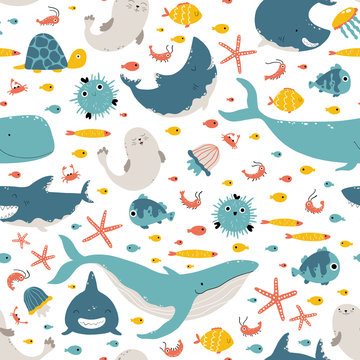 Sea animals and fish. Vector seamless pattern in simple cartoon hand-drawn style. Childish Scandinavian illustration is ideal for printing on textiles, fabrics, clothes, wrapping paper.