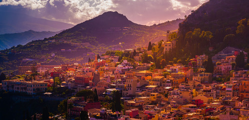 A panoramic view of Taormina, Giardini Naxos and Mount Etna, in Sicily, Italy.