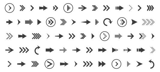 Arrows set icon. Arrows set vector illustration. Arrow icon. Arrow black colored. vector icon. Arrows vector collection. Vector