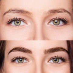 Female eyes before and after eyebrows correction and dying.