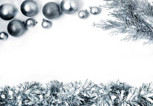 Christmas composition with silver balls. Christmas, new year concept. Flat lay, top view, copy space
