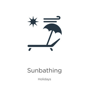 Sunbathing icon vector. Trendy flat sunbathing icon from holidays collection isolated on white background. Vector illustration can be used for web and mobile graphic design, logo, eps10
