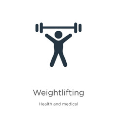 Weightlifting icon vector. Trendy flat weightlifting icon from health collection isolated on white background. Vector illustration can be used for web and mobile graphic design, logo, eps10