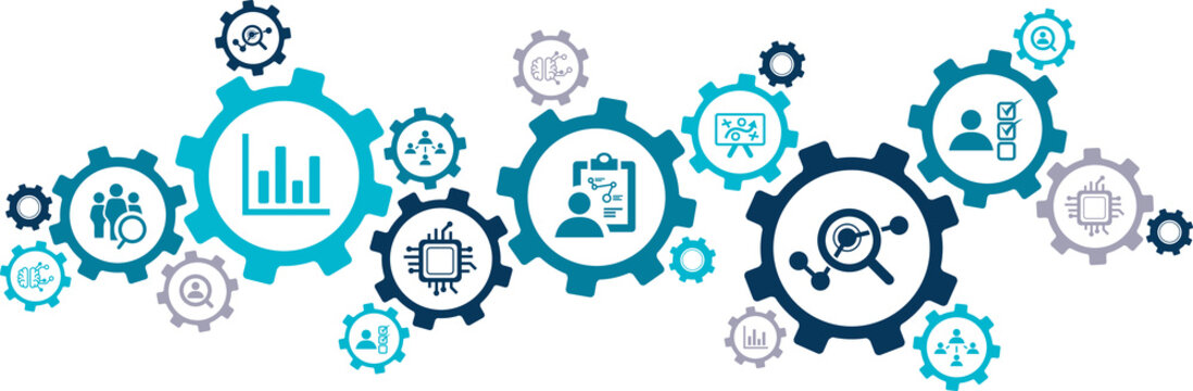 hr analytics icon concept: aspects of talent analytics / HR insights / human resource management as connected icons – vector illustration