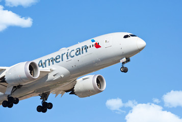 Chicago, USA - February 28, 2018: American Airlines Boeing 787 on final approach to O'Hare International Airport.