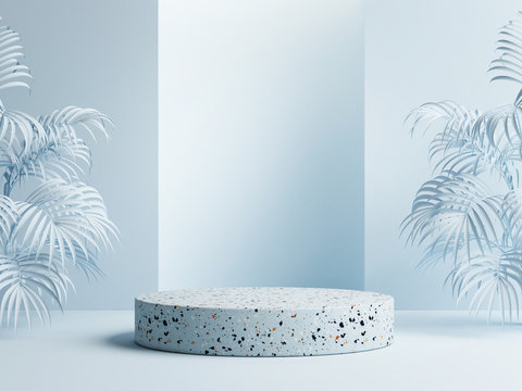 Mock up winner podium with palms on blue background, 3d render, 3d illustration