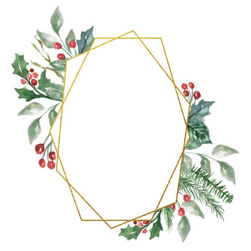 Watercolor Winter Christmas floral bouquet with gold foil geometric frame