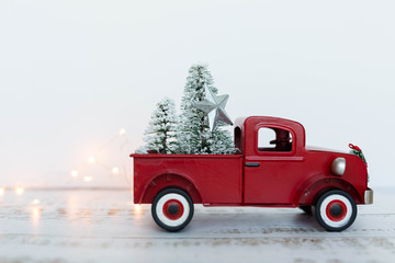 Vintage Red Truck Christmas Tree Ornament