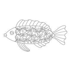 Ornate stylized fish for adult coloring book. Design element isolated on white background. Cartoon fish with floral texture for antistress coloring page. Vector illustration in zentangle style.