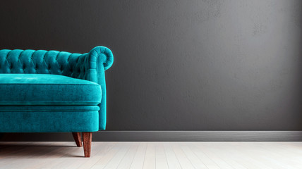 Living room dark grey interior wall mock up with turquoise blue colored velvet sofa, empty grey wall with free space on the right, 3D render, 3D illustration