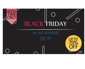 Banner template for sale on black Friday in the dark version. Vector illustration of banner for holiday sale with special offers with bright design. Information about fall in the price of the coupons.