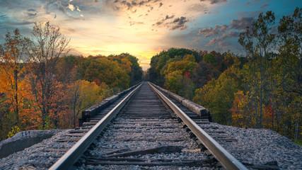 Door stickers Railroad railway in a rural landscape