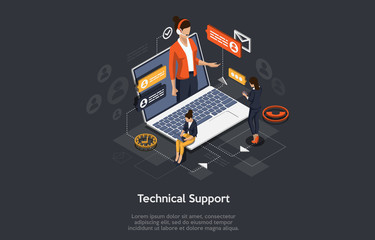 Isometric Online customer technical support concept. Vector illustration. Wall mural