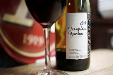 A bottle of Beaujolais Nouveau wine is pictured in a bistrot in Paris