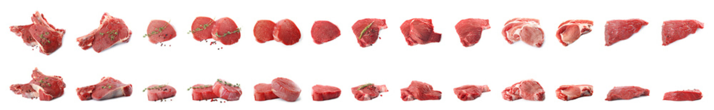 Set of fresh raw beef steaks isolated on white. Banner design