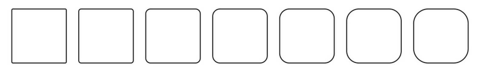 Square Icon Black | Round Squares | Foursquare Symbol | Frame Logo | Button Sign | Isolated | Variations Fotomurales