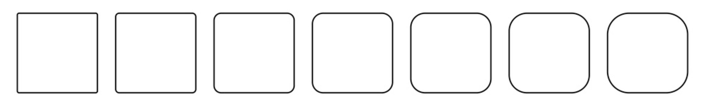 Square Icon Thin Line Black | Round Squares | Foursquare Symbol | Frame Logo | Button Sign | Isolated | Variations