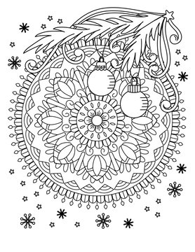 Christmas mandala coloring page. Adult coloring book. Holiday decore, balls and snowflake. Hand drawn vector illustration.