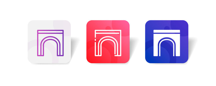 tunnel bridge outline and solid icon in smooth gradient background button