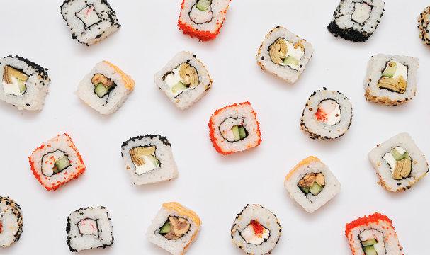 Japanese set rolls on white background.