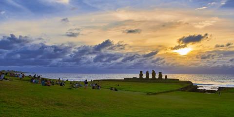 Sunset at Ahu Ko Te Riku. Easter Island. Chile.