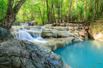 Poster Forest river Waterfalls In Deep Forest at Erawan Waterfall in National Park Kanchanaburi Thailand