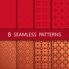 Set of golden chinese seamless pattern, vector illustration