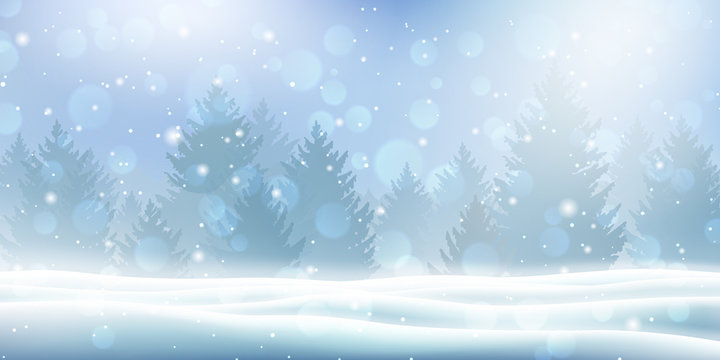 Holiday winter landscape with snow and winter tree. Snowfall against Christmas background. Falling shining beautiful snow and coniferous forest. Vector illustration for card, banner or poster.