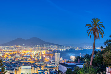 Naples in Italy with Mount Vesuvius at dusk seen from Vomero hill