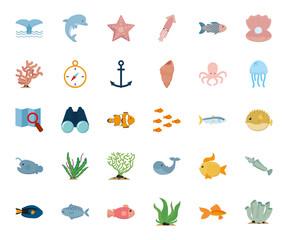 Isolated sea icon set vector design