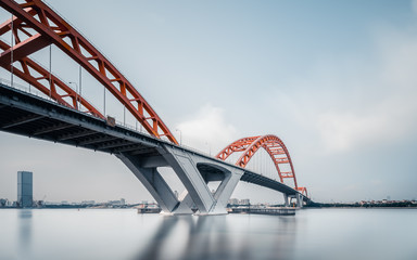 Suspension iron chain bridge in blue sky guangzhou china
