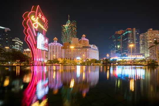 Night view of Macau (Macao). The Grand Lisboa is the tallest building in Macau (Macao) and the most distinctive part of its skyline.