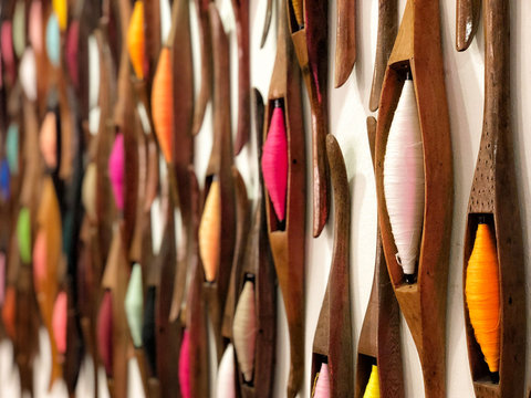 Thai handicraft wooden weaving shuttle for silk textile production