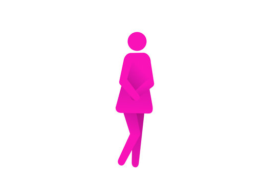 Urinary incontinence, cystitis, involuntary urination woman icon vector illustration. Bladder problems. Menopause, woman health, genital infection, hygiene. Female problems