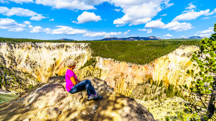Foto auf Acrylglas Gelb Schwefelsäure Woman at the edge of the North Rim of the Grand Canyon of the Yellowstone River in Yellowstone National Park in Wyoming, United States of America